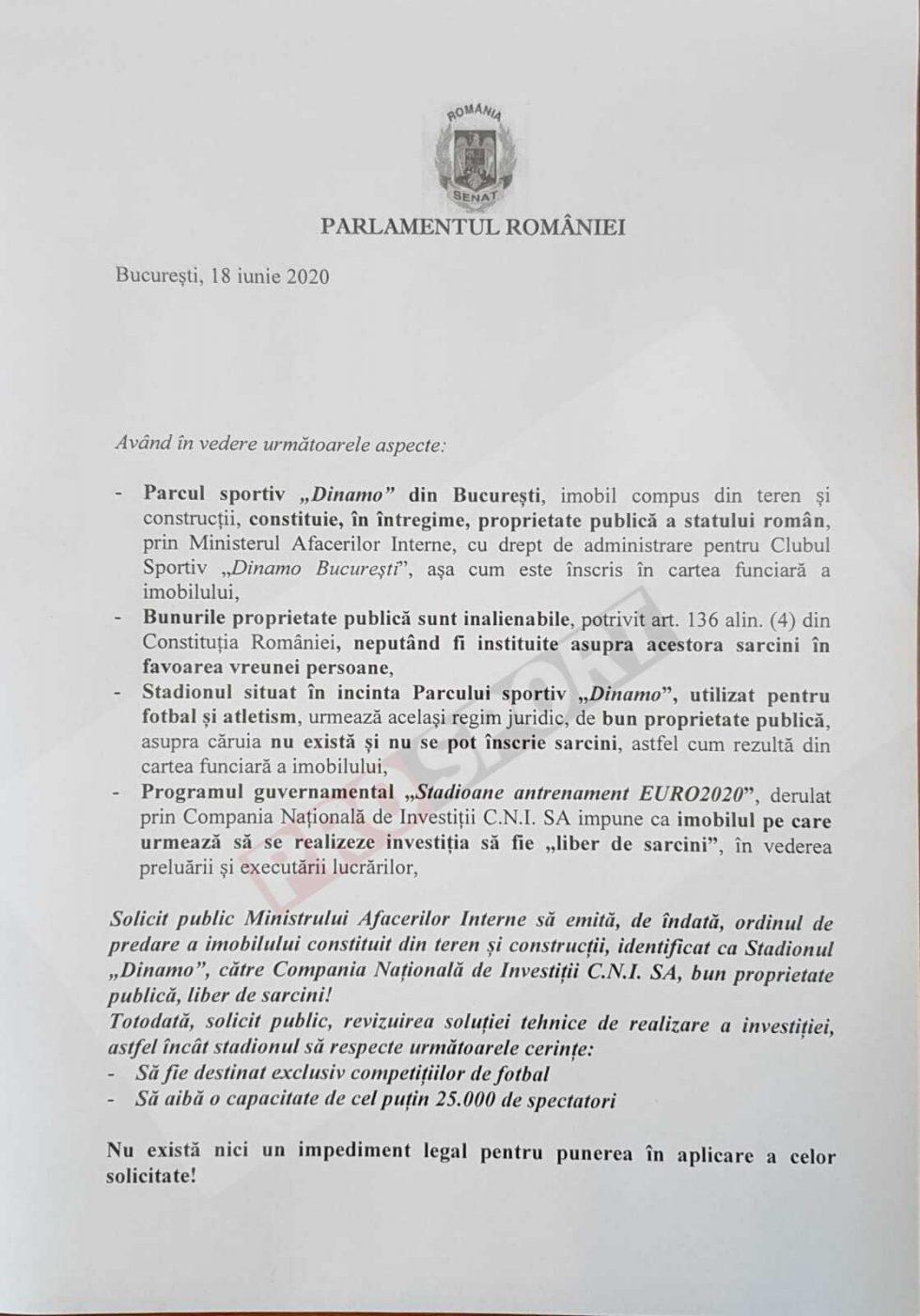 Solicitarea făcută de senatorul Șerban Nicolae către MAI