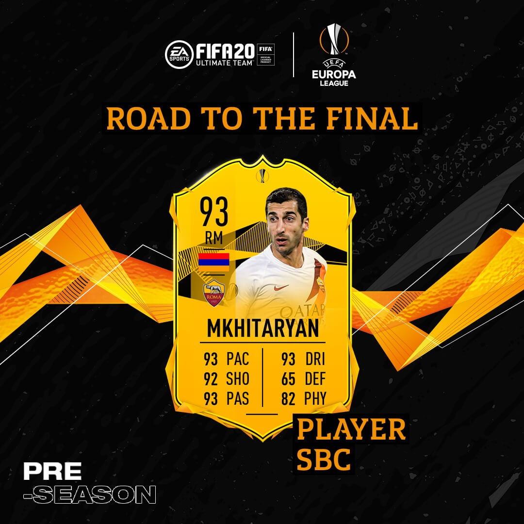 mkhitaryan card player sbc europa league fina roma fifa 20