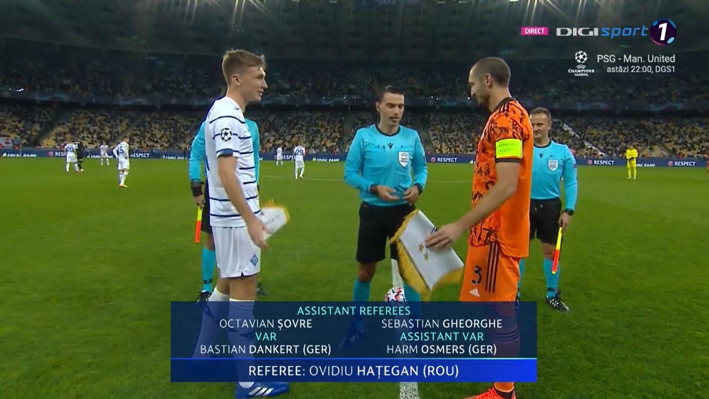 Ovidiu Hategan, la startul meciului dintre Dinamo Kiev si Juventus Torino