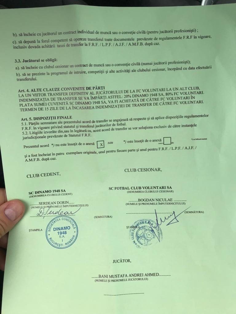 Contractul de transfer al lui Ahmed Bani, semnat de Dorin Șerdean