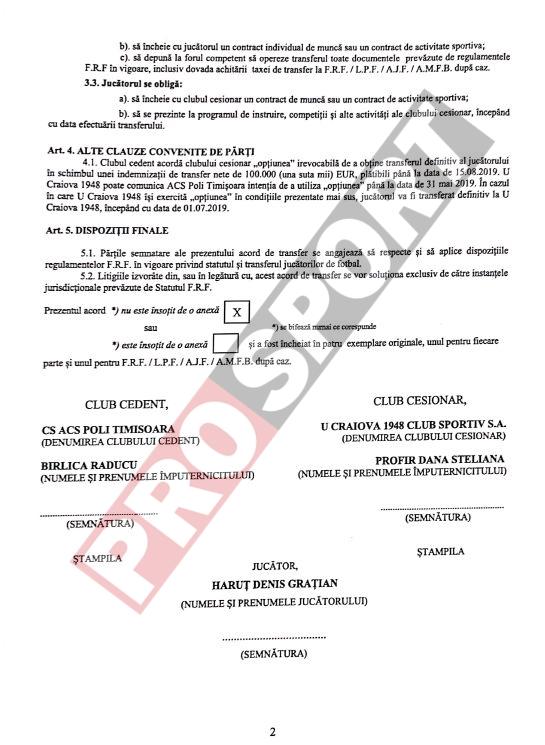 Contractul de transfer al lui Haruț la Craiova 1