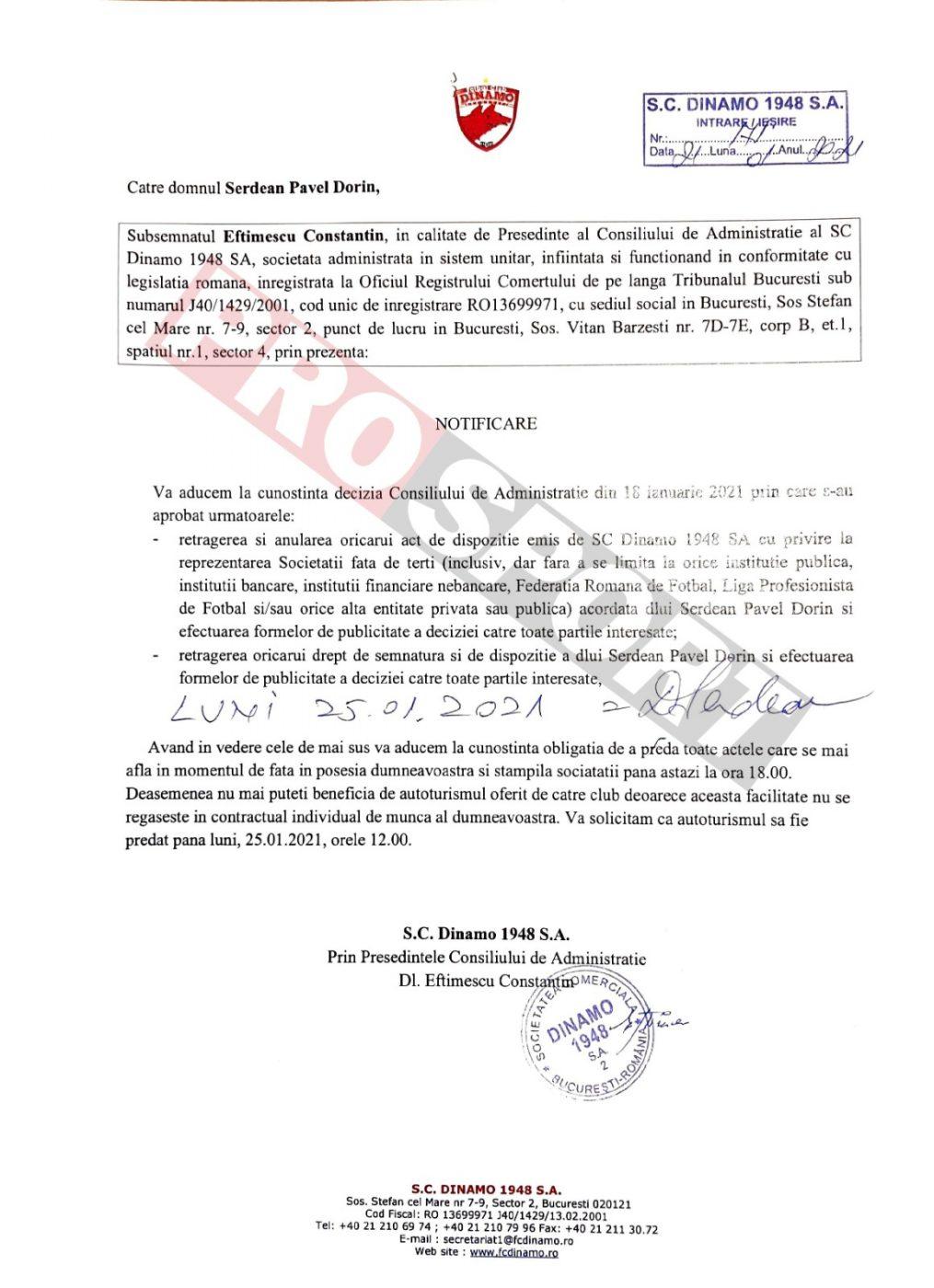 Actul concedierii lui Șerdean, semnat și acceptat de acesta