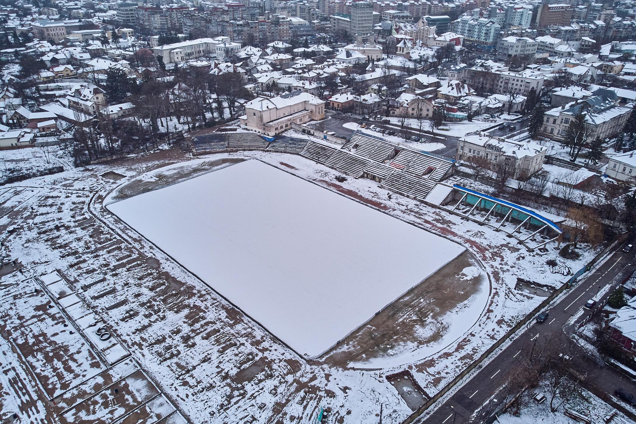 Așa arată acum șantierul stadionului din Târgoviște. Foto: ProSport