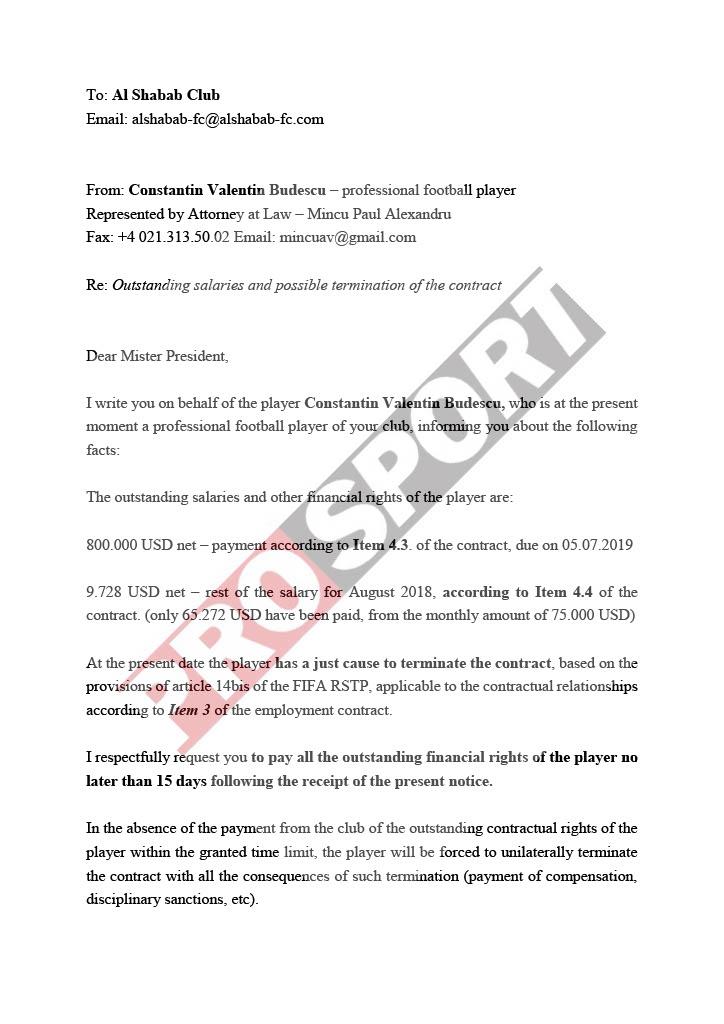Notificarea lui Budescu către Al Shabab pentru banii restanți