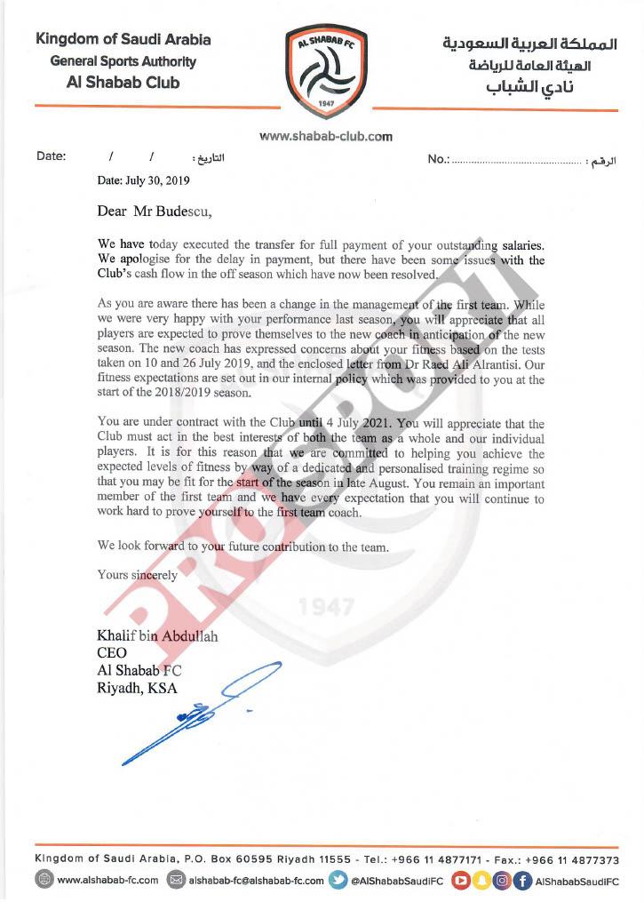 Scrisoarea prin care clubul Al Shabab se declară nemulțumit de forma fizică a lui Budescu și anunță că i-a virat în cont banii datorați