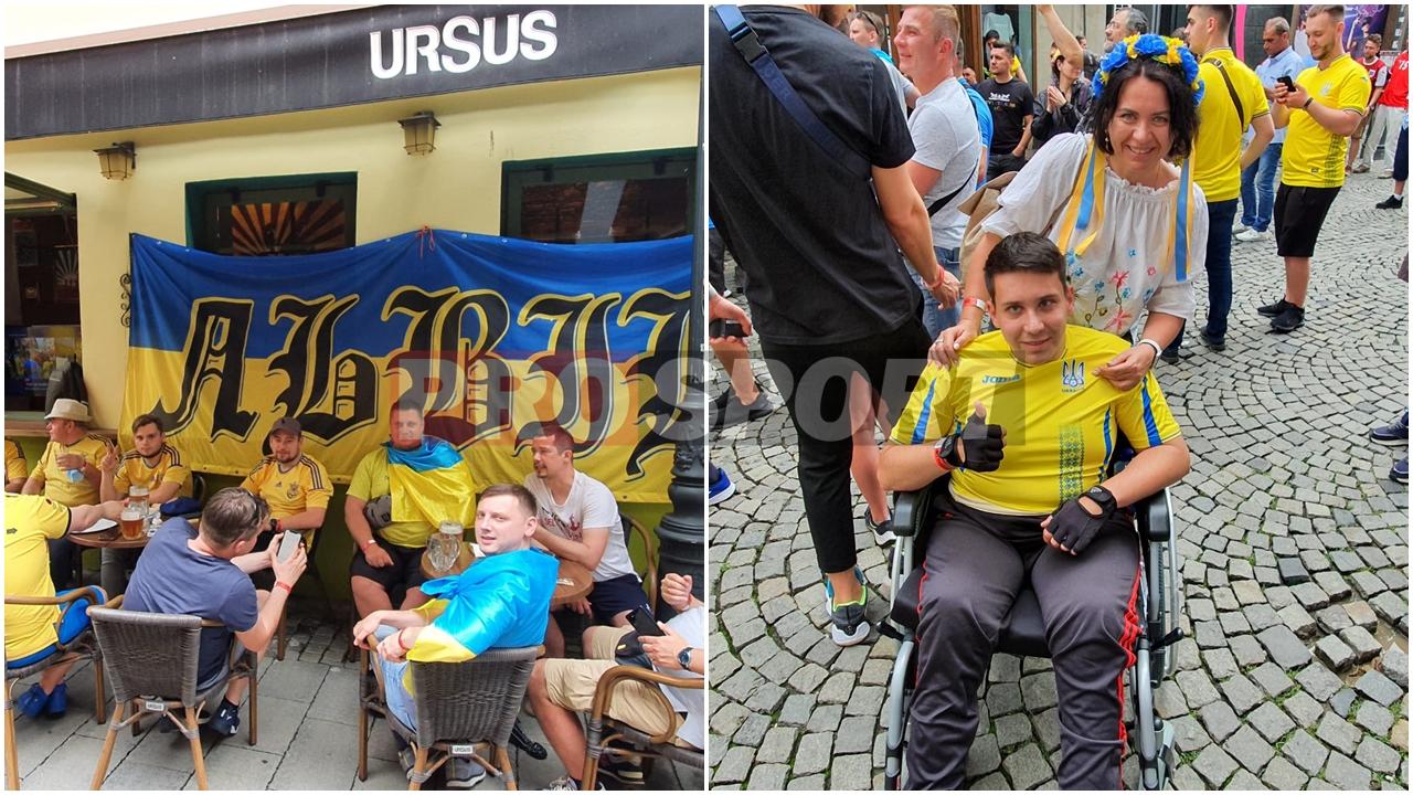 Imagini emoționante din Centrul Vechi înainte de Ucraina – Austria! Un suporter în scaun cu rotile a venit la București să își susțină favoriții! Spectacol făcut de cele două galerii | FOTO & VIDEO