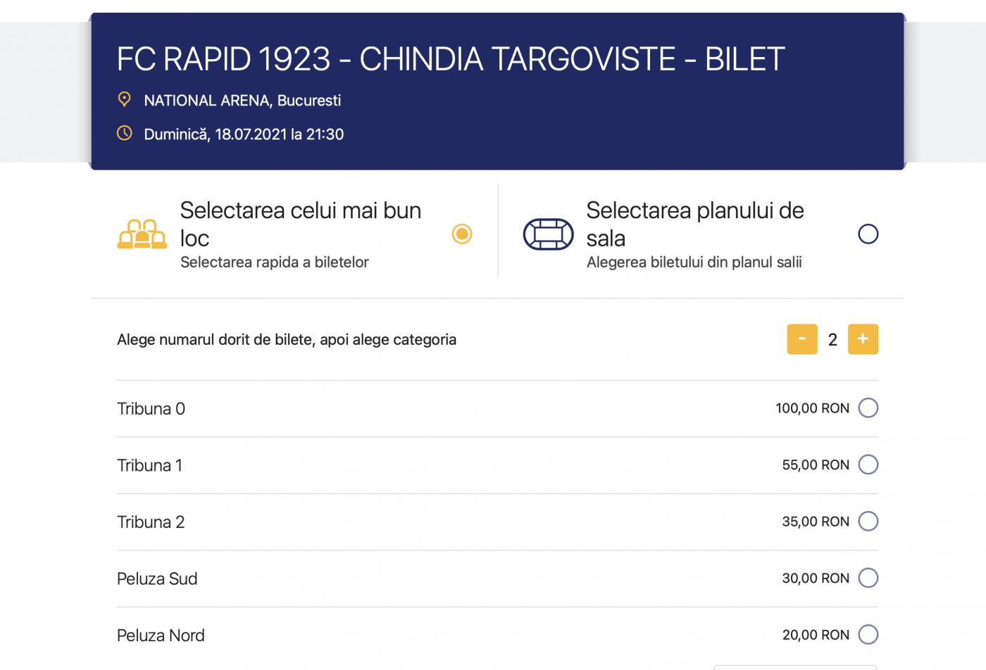 Așa arată platforma Eventim, unde scrie clar că poți achiziționa bilet la tribuna 0 în schimbul a 100 de lei