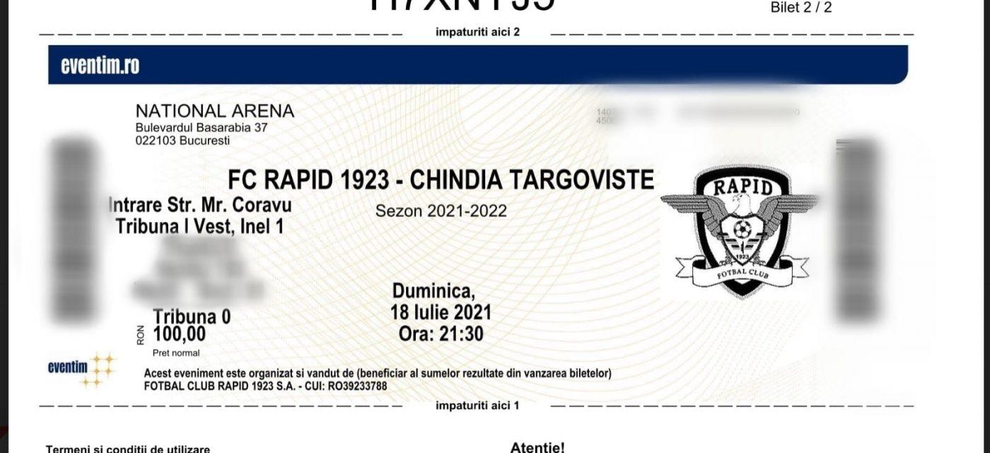 Pe bilet se poate vedea clar cum scrie atât Tribuna 1 cât și Tribuna 0