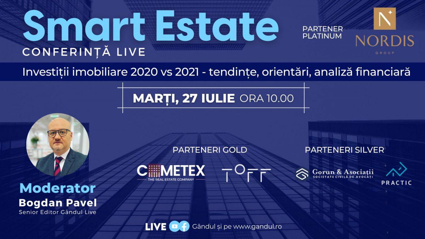 """Conferința digitală LIVE """"SMART ESTATE"""" – Marți 27 iulie de la ora 10.00 în direct online din studioul Gândul LIVE"""